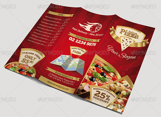 Trifold Brochure - Pizza Menu