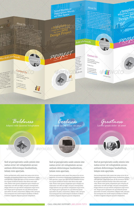 Creative Trifold Brochure Design Templates – Three Fold Flyer Template