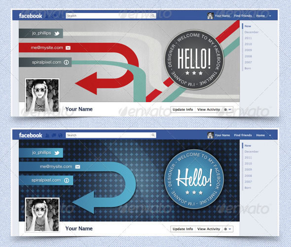 Facebook Timeline Covers - Retro Badges