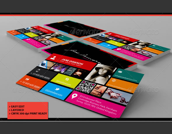 Colourful Win 8 Business Card
