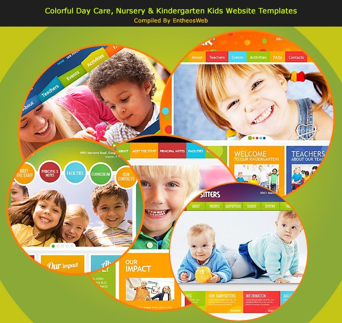 Colorful Day Care Nursery Kindergarten Kids Website Templates - Child care brochure templates free
