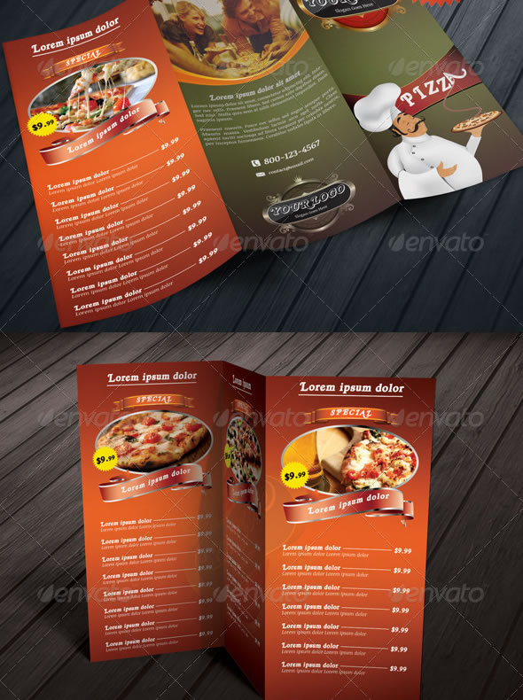 Stylish Food Menu Templates Entheos - 3 fold menu template