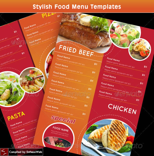 Stylish Food Menu Templates | Entheos