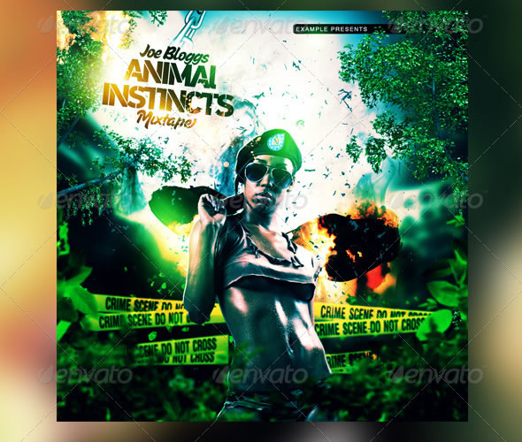 Animal Instincts Mixtape / CD Template