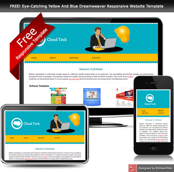 free eye catching yellow and blue dreamweaver responsive website template - Free Website Templates