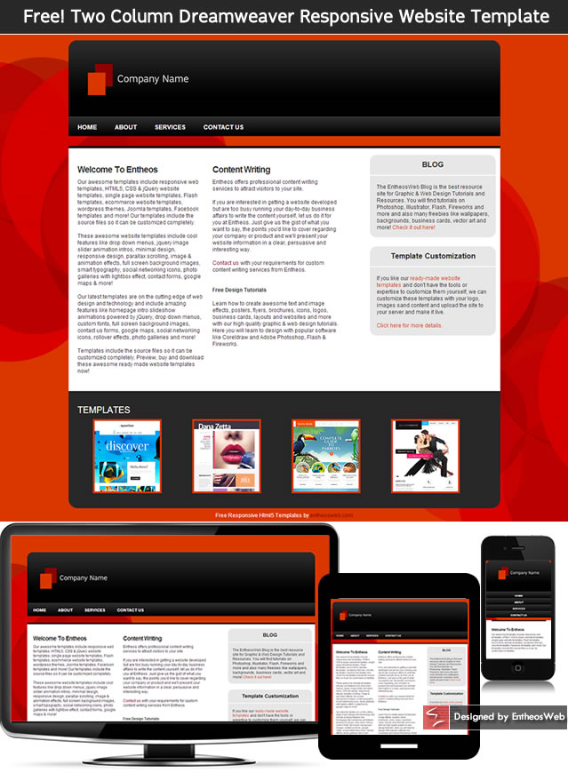 free two column dreamweaver responsive website template entheos