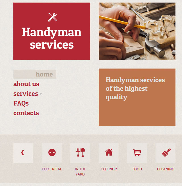 Template 46541 - Handyman Services Responsive Website Template
