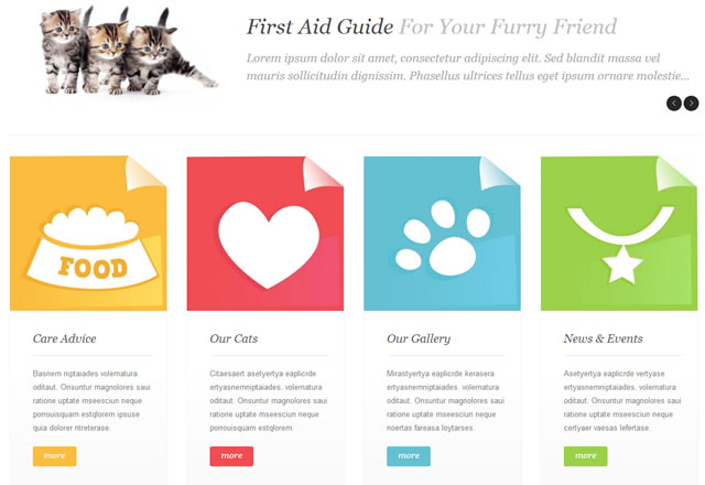 Template 45582 - Cats Kitten Responsive WordPress Theme