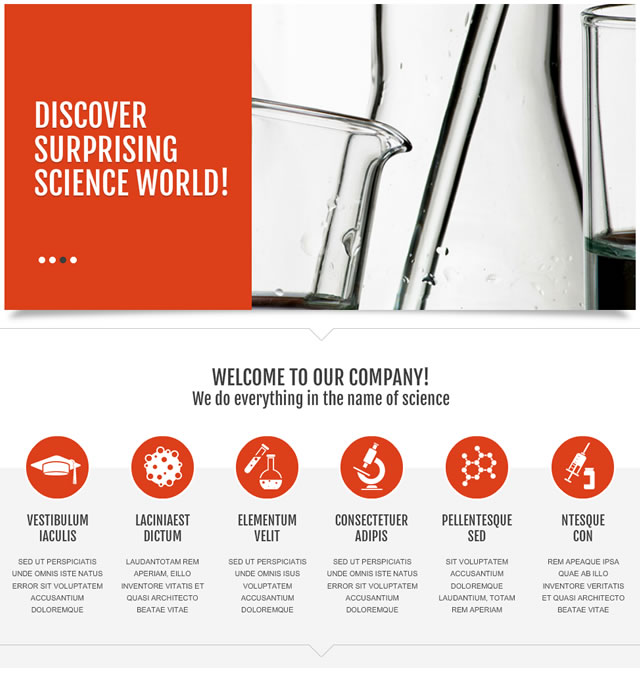 Template 47147 - Science Flash CMS Template with Flash Banner, Graphics in Circles, Tiny Icons