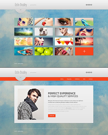 Template 46079 - Photographer Portfolio Website Template, Single-page Design, Cool Add-ons – Slider, Portfolio, Animated Hovers