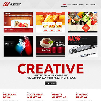 Template 47007 - Advertising Agency Responsive WordPress Theme with Portfolio and Blog, Admin Panel