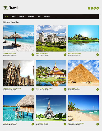 Template 46706 - Travel Responsive Joomla Website Template with Homepage Gallery, Grid Format, Blog, Admin Panel
