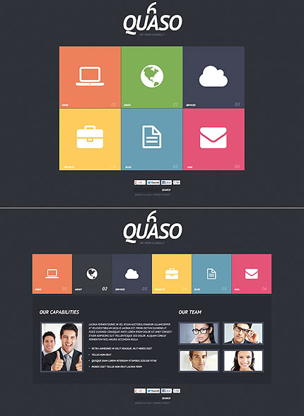 Template 46674 - Business Flash CMS Template with Menu Grid, Colored Squares with Graphics on Black, Gallery