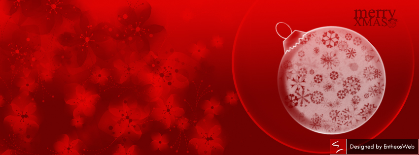 Red Christmas Facebook Timeline Cover with Bauble and Flowers