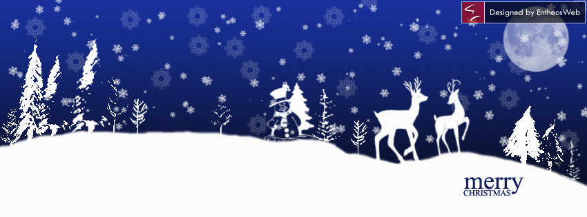 SnowMan and deer in dark blue background
