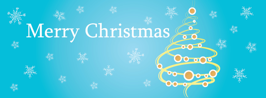 Christmas tree With blue background facebook timeline cover