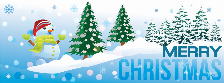 Snowman themed christmas facebook timeline cover