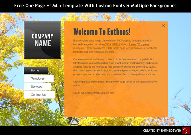 Free One Page HTML5 Template With Custom Fonts & Multiple Backgrounds