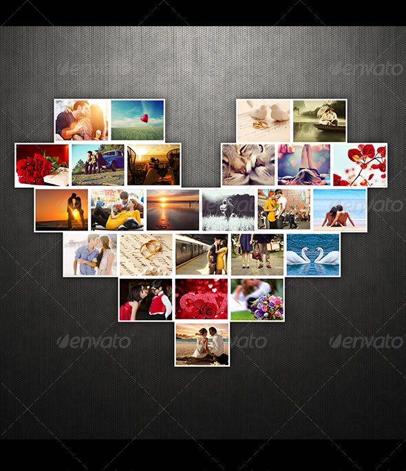 Amazing collage templates in photoshop entheos lovely heart photo template pronofoot35fo Images
