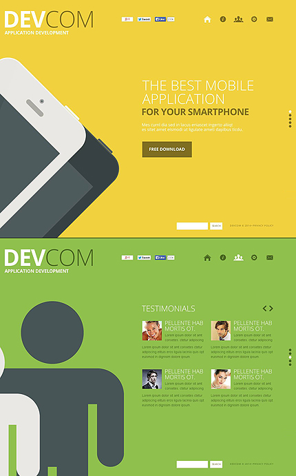 Template 48685 - Devcom Software Flat Design Flash CMS Template