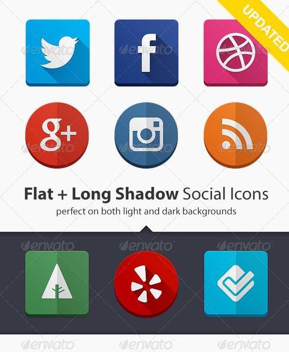 160 Flat + Long Shadow Social Icons