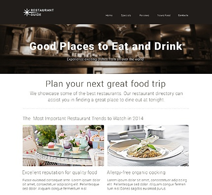 Template 48557 - Review Restaurant Responsive Website Template