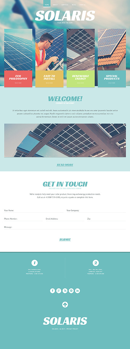 Template 46916 - Solaris Solar Responsive Website Template