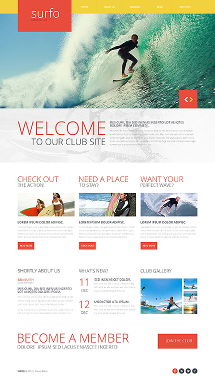 Template 48293 - Surfo Surfing Responsive Website Template