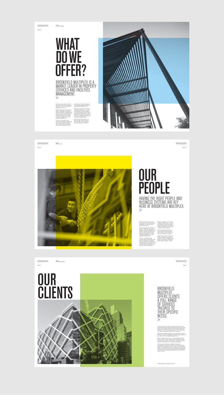 creative brochure design geometric shapes and more entheos brookfield multiplex brochure brookfield multiplex 1