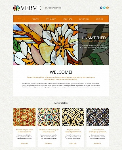 Template 48858 - Stained Glass Moto CMS HTML Template