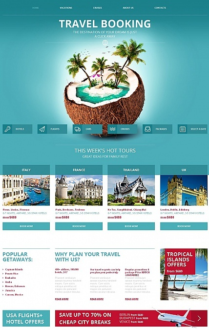 Template 49437 - Travel Booking Moto CMS HTML Template