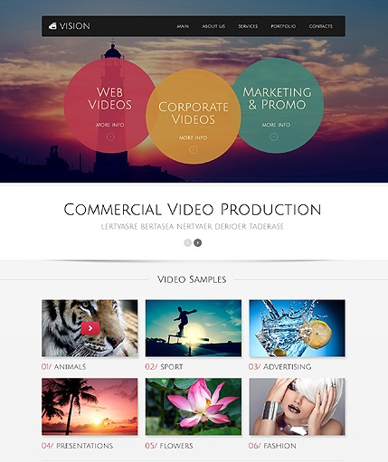 Template 49517 - Video Production Responsive Bootstrap Website Template