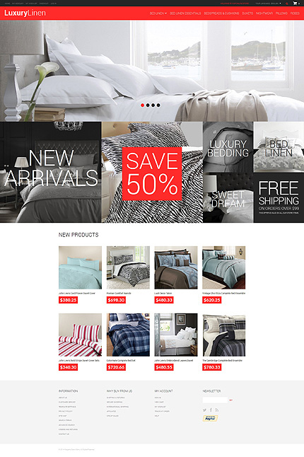 Template 49586 - Luxury Bed Linen Responsive Magento Theme