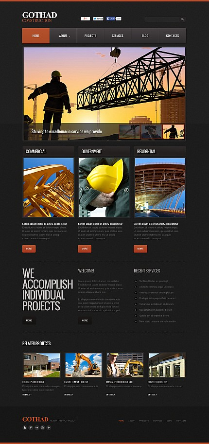 Template 48124 - Construction Flash CMS Template