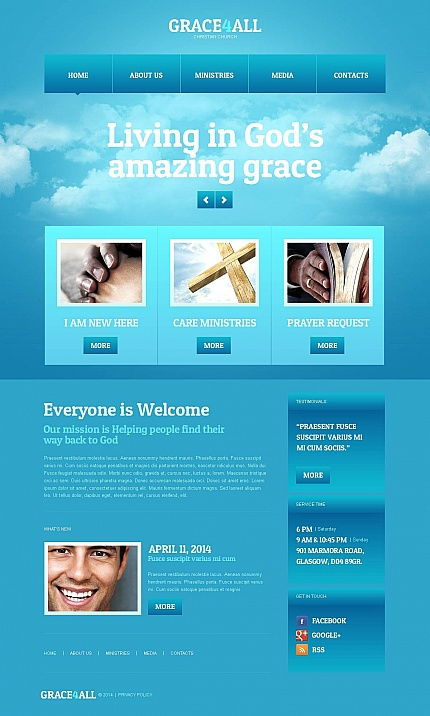 Template 49038 - Christian & Church Blue Moto CMS HTML Template