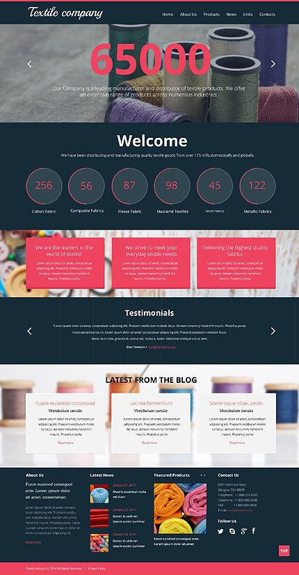 Template 49078 - Textile Industry Responsive Website Template