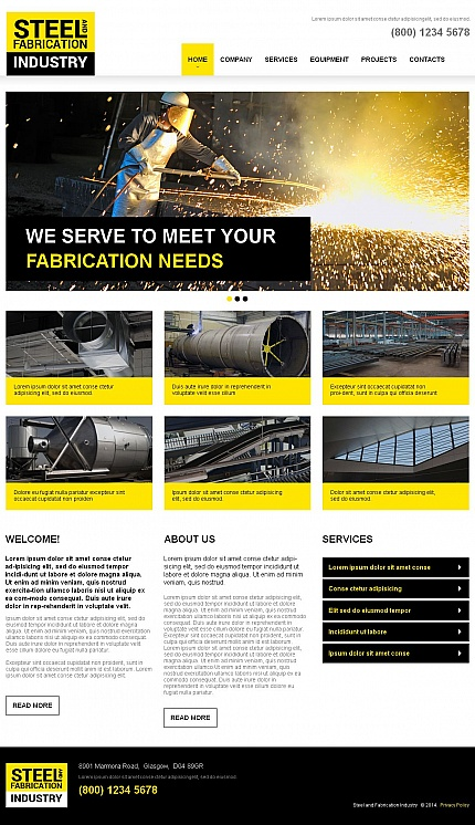 Template 49186 - Steel Fabrication Industry Moto CMS HTML Template