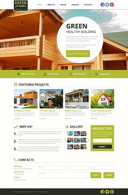 Template 49438 - Green Building Moto CMS HTML Template