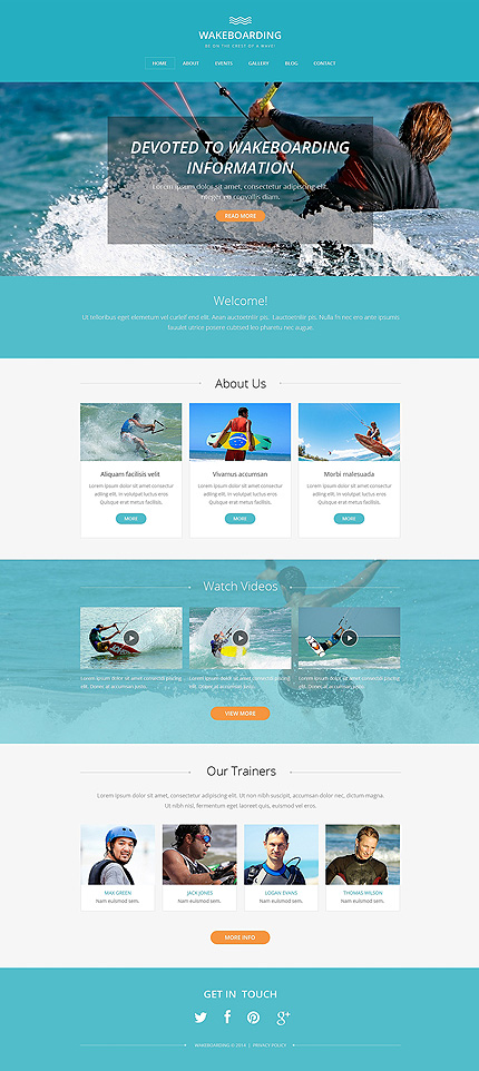 Template 49419 - Wakeboarding Runner Drupal Template