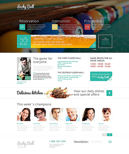 Template 49524 - Billiards Drupal Template