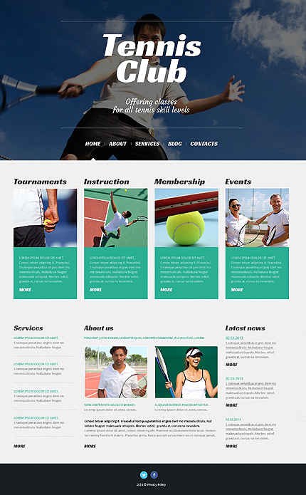 Template 50527 - Tennis Club WordPress Theme