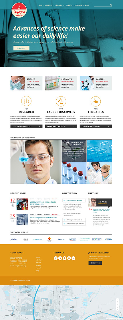 Template 50688 - Science Lab Responsive Website Template