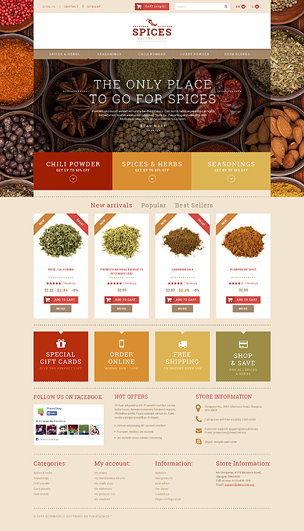 Template 50807 - Spices Responsive PrestaShop Theme