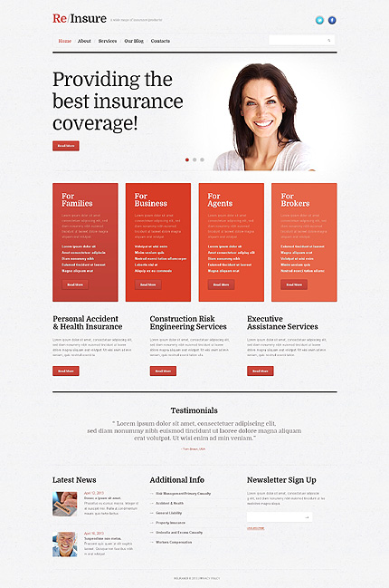Template 45701 - Insurance Responsive WordPress Theme