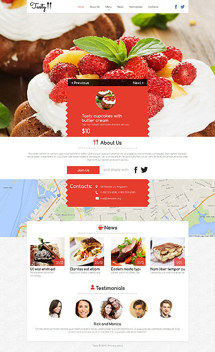 Template 50718 - Cafe & Restaurant Responsive Website Template