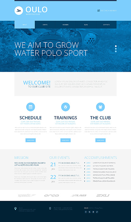Template 50730 - Water Polo Responsive Website Template