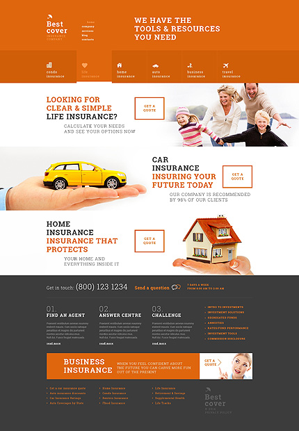 Template 50804 - Insurance Company Responsive WordPress Theme