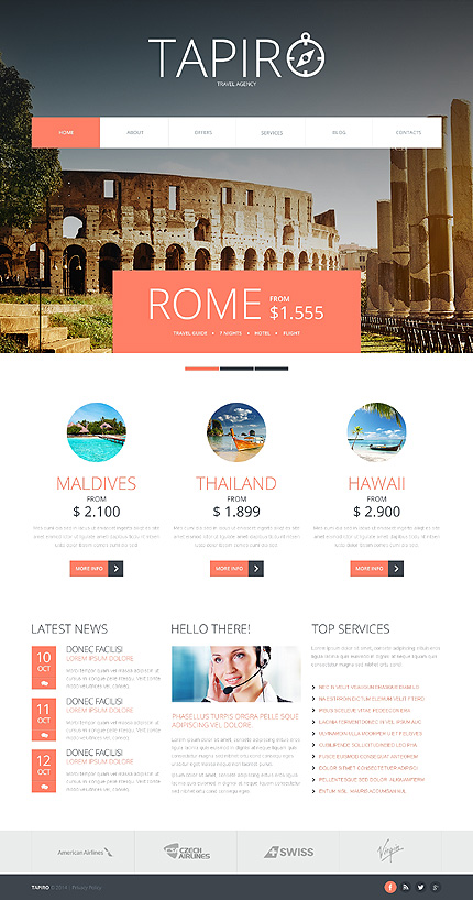 Template 47949 - Travel Responsive Joomla Template with Slider, Gallery and Blog