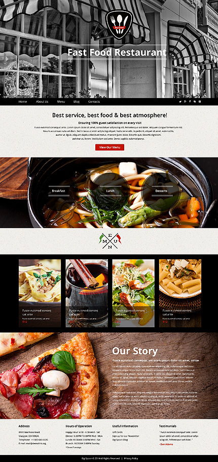 Template 51109 - Fast Food Responsive Website Template with Bootstrap