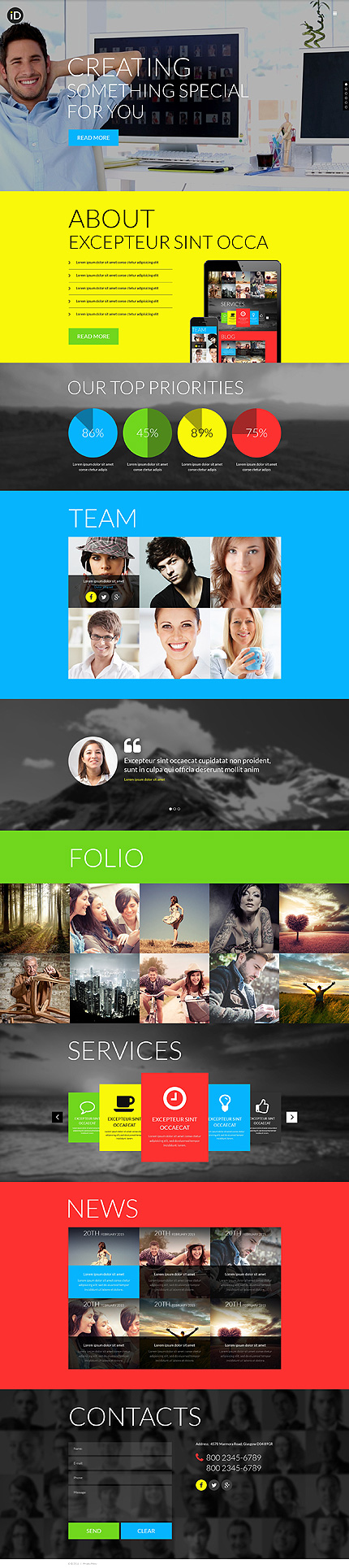 Template 51194 - Design Studio Responsive Website Template With Parallax, Background Video and Lazy Load